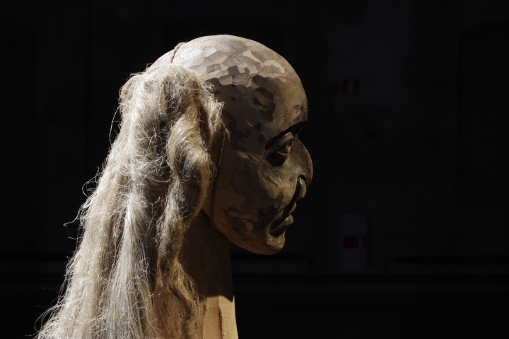 Head of Julia Bondesson's wood sculpture The Guardian